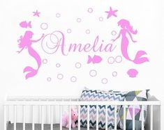 Wall Vinyl Decal, Wall Murals, Quote Stickers, Nursery by BartiWallDecals Name Wall Decals, Vinyl Wall Decals, Wall Murals, Etsy Seller, Nursery, Stickers, Creative, Quotes, Wallpaper Murals