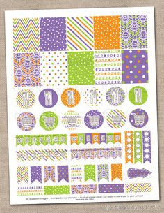 Purple Orange & Green Planner Stickers Set Instant Download DIY Printable PDF with Checklists Weekend Banners