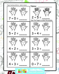 This is a sample of what one of the FingerPrint Addition worksheets look like.  This one includes sums up to seven.  The worksheets go all the way up to ten.
