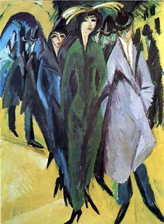 Painting by Ernst Ludwig Kirchner (1880-1938), 1915, Women in the street.