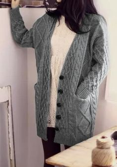 Cable Knit Oversized Cardigan// Looks so warm.  I like!