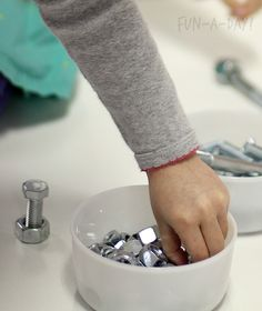choosing nuts and bolts for a fine motor activity