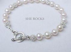 "Freshwater pearl and diamante wedding bracelet ""Snowflake"" by sherocksbridaljewellery.com"