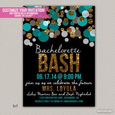 Bachelorette Bash Bachelorette Party Invitation - Custom Bridal Shower Invitation - DIGITAL - DIY Printable Invitation on Etsy, $15.00