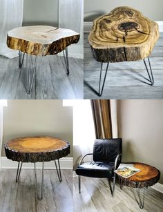 Growing up my neighbors had a coffee table made from a single piece of sliced wood and I always wondered why they weren't more popular. CraftsManhattan is bringing this style back by creating handmade(Diy Bar Small) Handmade Table, Handmade Furniture, Tree Table, Wood Table, Bench Furniture, Etsy Furniture, Furniture Ideas, Kitchen Furniture, Cheap Home Decor