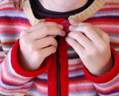 Make a Child's Cardigan from an Old Sweater - DIY: Repurpose that favorite wool sweater which fell victim to the dryer.