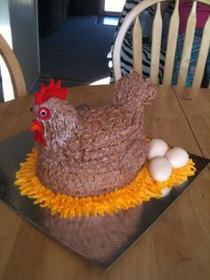 chicken cake.   use an oval pan and carved the top a little.  Then made the head and tail from fondant on a dowel rod.  Then covered everything with butter cream using a petal tip.  Eggs are fondant.