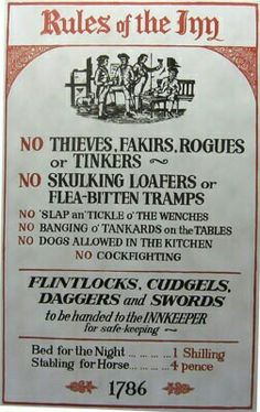 Rules of the Inn. Could adapt something similar for the Tavern Feast in October. Pirate Art, Pirate Life, Pirate Signs, Pirate Boats, Pirate Theme, Pub Signs, Black Sails, Pirates Of The Caribbean, Writing Inspiration