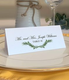 This lovely greenery Wedding Place Cards for guests dinner table seating Features a swag of garland across the bottom of each card and it is a Downloadable Microsoft Word Template printable file  that you can edit and personalize. Creative Wedding Invitations, Personalised Wedding Invitations, Elegant Invitations, Personalized Wedding Gifts, Card Table Wedding, Wedding Place Cards, Printable Place Cards, Wedding Giveaways, Table Seating