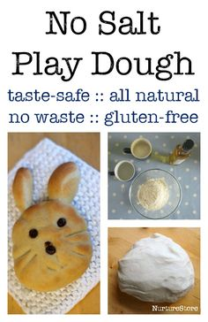 No salt play dough recipe :: homemade play dough, all natural ingredients, taste safe, gluten free option