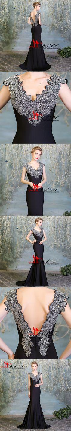 Abendkleider Evening Dress Vintage 2016 robe de soiree Crystal Beads Backelss Cheap Black Mermaid Sexy vestidos de formatura