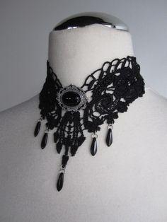 Gothic Dark Victorian Black Lace Necklace, Marquise de Bergerac. $45.00, via Etsy.