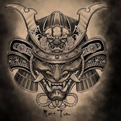 Need a mask like this one 😍 Japanese Tattoo Samurai, Samurai Tattoo Sleeve, Japanese Leg Tattoo, Samurai Warrior Tattoo, Samurai Drawing, Warrior Tattoos, Japanese Sleeve Tattoos, Best Sleeve Tattoos, Body Art Tattoos