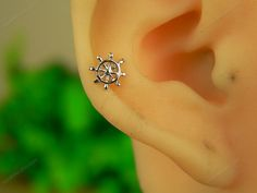 sterling silver rudder cartilage earring cartilage hoop cartilage stud cartilage piercing cartilage ring, HY003 on Etsy, $9.90