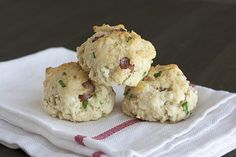Bacon, Goat Cheese, and Green Onion Biscuits from handletheheat.com