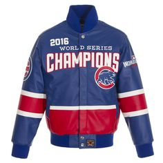 CHICAGO CUBS JH DESIGN 2016 WORLD SERIES CHAMPIONS DOMESTIC TEAM COLOR ALL LEATHER JACKET - ROYAL