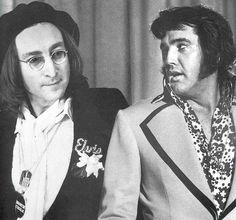 Elvis and  John Lennon I bet John Lennon is screaming like a little girl meeting Justin Beiber on the inside