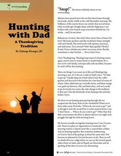 """Hunting with Dad by Talmage Ekanger, JD.  """"I love Thankgiving. Thanksgiving means it's hunting season again, and it's time to return home to South Dakota. It's time to be with family, and especially with my father, because he and I will be deer hunting..."""" Molly Green - November/December 2014 - Page 26"""