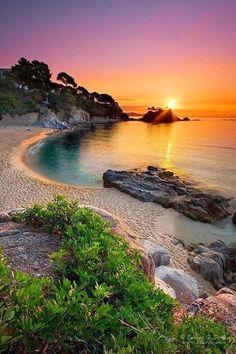 Sunset landscape in Girona, Spain
