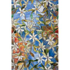 Light Effects Clematis Decorative Window Film - faux stained glass for picture window over master tub