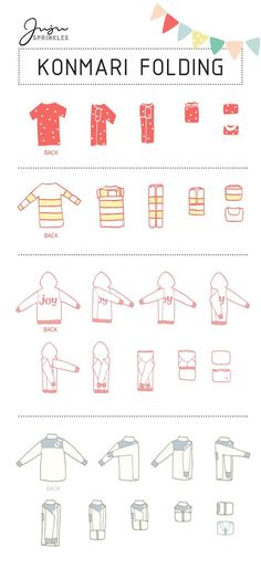 """""""Now that I have KonMari-ed all my clothes, how do I fold them correctly?"""" I am sure I am not the only one with this question. If you have seen my 10 illustrations that summarize the … organization Everything You Ever Need To Know About KonMari Folding Organisation Hacks, Closet Organization, Clothing Organization, Bathroom Organisation, Organizing Ideas, Kitchen Organization, Organising Tips, Closet Hacks, Organization Station"""