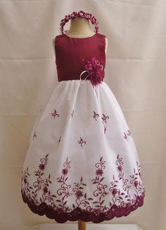 Dress for Abby Flower Girl Dress BURGUNDY 072 Wedding Children by NollaCollection, $29.99