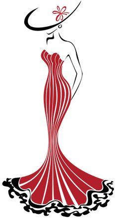 Illustration of silhouette of a slender woman in a long red dress and hat vector art, clipart and stock vectors.- Millions of Creative Stock Photos, Vectors, Videos and Music Files For Your Inspiration and Projects.No Back Cookies via Author Anita Ph Pencil Art Drawings, Cool Art Drawings, Art Drawings Sketches, Easy Drawings, Silhouette Art, Fashion Design Sketches, Bottle Art, Fabric Painting, Diy Art