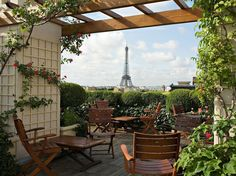 Paris has its share of luxury hotels with magnificent views, but there's something special about the experience from the rooftop terrace at Hôtel Raphael. Take a seat beneath rose-covered trellises and enjoy a drink or two with the Eiffel Tower looming on the horizon. This terrace is best during warm spring days and the summer (naturally), and it's always a good idea to make a reservation for the terrace.Address: 17 Avenue Kléber, 75116 Paris (16th arrondissement)Métro stop: Kléber (line: 6)
