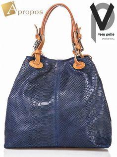 VERA PELLE  Beutel 35cm Leder Handtasche Schultertasche Henkeltasche Python