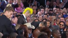 Twenty One Pilots Take Pants Off On GRAMMY Audience Cam - Twenty One Pilots taking off their pants before their acceptance speech for Best Pop Duo/Group Performance at the 59th Annual GRAMMY Awards on Feb. 12, 2017, at Staples Center in Los Angeles.