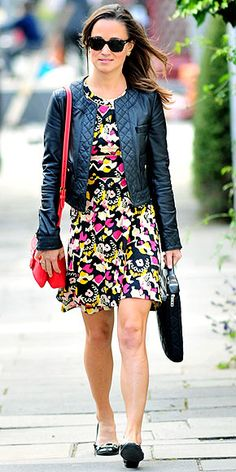 Pippa Middleton in a printed French Connection dress and a Whistles leather jacket, red purse, black flats and her Knomo laptop case.  #PippaMiddleton