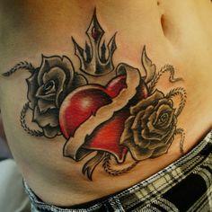 Rose n Heart Tattoo On Side Belly