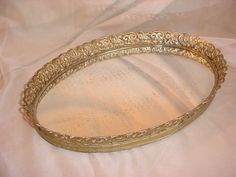 Vtg Hollywood Regency Vanity Tray Gold tone Filigree Ornate Oval 10 by 14 Mirror