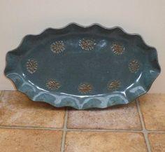 Large serving dish platter in textured stoneware