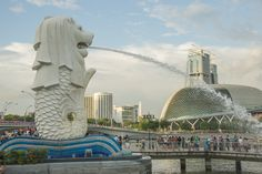 Merlion Park, a landmark of Singapore, is a major tourist attraction at One Fullerton, Singapore, near the Central Business District (CBD).