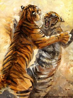Irreparable by kenket on deviantART - Tiger painting Big Cats Art, Cat Art, Tiger Drawing, Painting & Drawing, Tiger Painting, Fighting Drawing, Tiger Artwork, Polychromos, Wildlife Art