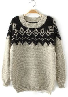 Beige Geometric Hollow-out Round Neck Cotton Blend Sweater