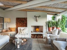 You and nine other guests will have plenty of time to enjoy the outdoor fireplace that overlooks the gardens and Keurbooms River. South African Homes, African House, Outdoor Rooms, Outdoor Living, Outdoor Decor, Outdoor Kitchens, Built In Braai, Outdoor Cabana, Renting A House