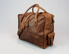 Vintage style brown leather holdall duffel by VintageChildShop