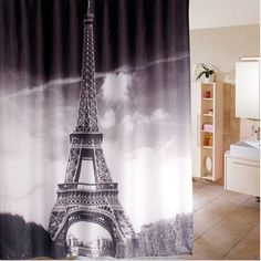 Feiqiong Brand 180*180cm Shower Curtains Paris Design Waterproof Fabric 100% Polyester Home Bathroom Curtain