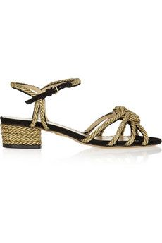 Charlotte Olympia It's Knot You, It's Me metallic rope-embellished suede sandals   NET-A-PORTER