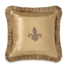 Buy Fleur-De-Lis Trimmed 18-Inch Square Toss Pillow in Gold from Bed Bath & Beyond