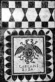 "GORGONI BITA = gorgoni vita = life to Gorgo! i.e. Long live Gorgo!   One of three black and white mosaics from Ostia Antica's so-called House of the Gorgons. One theory is that it was an undertakers. Despite this article's argument, the gorgon or Medusa is a ""threshold guardian"" and not necessarily bad. She protects the undertakers and their clients against evil spirits.  Roman, early 4th century AD."