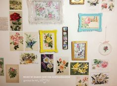 How to make a vintage postcard wall - click for tutorial