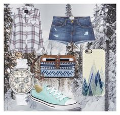 """""""warm winter"""" by missdriftwood ❤ liked on Polyvore featuring The Sak, Casetify, Current/Elliott, Rails, Converse and Versace"""