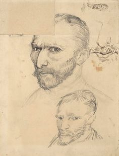 Vincent Van Gogh - Post Impressionism - Autoportraits de Van Gogh - Dessins - Drawings - 1886