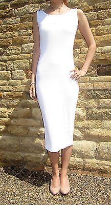Womens Midi Long Tall Vest Dress Bodycon New Summer Size 8 10 12 14 16 18 20 22 Good Stretches, Summer Beach, 18th, White Dress, Bodycon Dress, Vest, Cotton, Wedding, Ebay