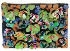 Zip Top Clutch Bag with Floral Embellishment