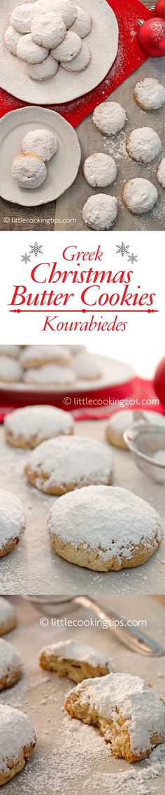 The traditional recipe for Greek Christmas Butter Cookies: Kourabiedes. Those cookies are served throughout the Holiday season all over Greece. Scented with rose water or flower water, flavored with butter, they're so delicious that some people make them off-season as well! If you never tried flower water before, try it, and you'll be using it in countless sweets. The aroma is truly unique. Very easy to make, they make for the perfect treat for your guests. #christmas #xmas #Greek #cookies