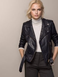 INDIGO BLUE LEATHER JACKET - Massimo Dutti